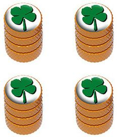 """Amazon.com : (4 Count) Cool and Custom """"Diamond Etching Four Leaf Clover Top with Easy Grip Texture"""" Tire Wheel Rim Air Valve Stem Dust Cap Seal Made of Genuine Anodized Aluminum Metal {Orange and Green Colors} : Sports & Outdoors"""
