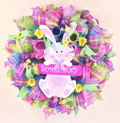 Easter wreath, some bunny loves you, Flower Wreath, Blue Wreath, Pink Wreath, Spring Wreath, Ready to Ship
