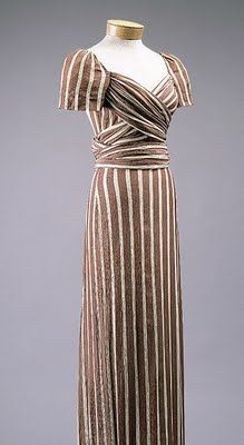 Silk evening dress by McCardell for Hattie Carnegie, 1939. From the Met Museum collection database.