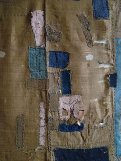 Silk Boro Cloth with Safflower dyed paper patches from SRI threads blog