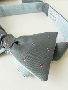 Grey Bowtie with Polka Dot Reverse by HandsomeAndLace on Etsy