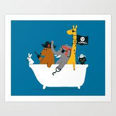 A cute bunch of safari animals pirates taking a bath tub voyage.