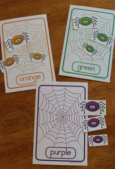 spider themed color and size sort for preschool, pre-k, and busy bags