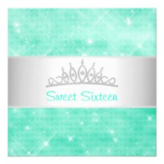 Sweet 16 Green Glitter Silver Jewel Tiara Party 16 Personalized Invitations you will get best price offer lowest prices or diccount couponeReview          	Sweet 16 Green Glitter Silver Jewel Tiara Party 16 Personalized Invitations Review from Associated Store with this Deal...