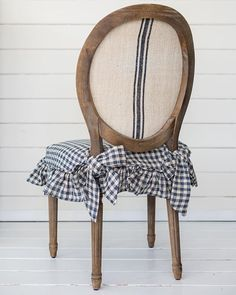 The kitchen chairs are finished and a tutorial is coming soon... #slipcovers #checks #blueandwhite #frenchcountry #frenchcountrystyle #furnituremakeover
