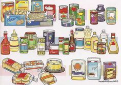 GROCERIES Packaged Goods 1 cereal 2 cookies 3 crackers 4 macaroni 5 noodles 6 spaghetti 7 rice Canned Goods 8 soup 9 tuna (fish) 10 (canned) vegetables 11 (canned) fruit Jams and Jellies 12 jam 13 jelly 14 peanut butter Condiments 15 ketchup 16 mustard 17 relish 18 pickles 19 olives 20 salt 21 pepper 22 spices 23 soy sauce 24 mayonnaise 25 (cooking) oil 26 olive oil 27 salsa 28 vinegar 29 salad dressing Baked Goods 30 bread 31 rolls 32 English muffins 33 pita bread 34 cake Baking Products 35…