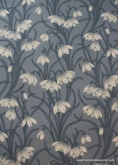 1920's Vintage Wallpaper Stunning White floral on blue background. $20.00, via…