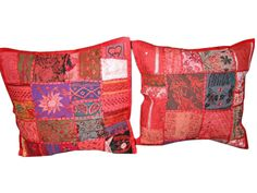 Indian Sari Cushion Covers 2 Pink Embroidered Toss Pillow Covers $22.99