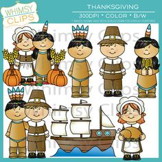 The Thanksgiving clip art set contains 22 image files, which includes 11 color images and 11 black & white images in both png and jpg. This set includes Pilgrims, Indians, and the Mayflower. All images are 300dpi for better scaling and printing. $