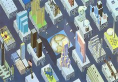 The City of the Captive Globe - Delirious New York, Rem Koolhaas & Madelon Vriesendorp Rem Koolhaas, German Architecture, Architecture Drawings, Classical Architecture, Rotterdam, New York Illustration, Globe Projects, Axonometric Drawing, Autocad