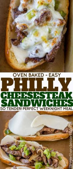 Oven Baked Philly Cheesesteak Sandwiches - Dinner, then Dessert