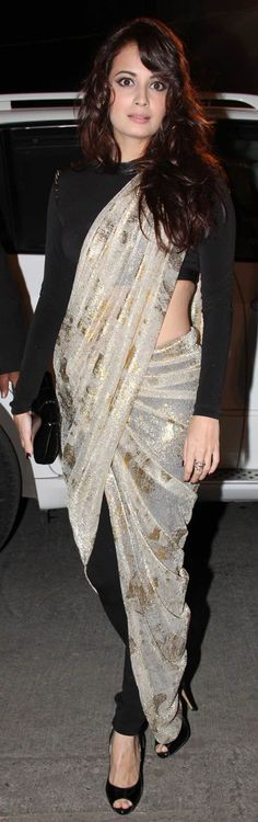 Saree With Pants Style: A Casual Way to drape a Saree... Find out 10 more style at Looksgud.in