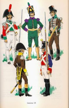 Spanish; Andaluscian Regiments, Top L to R Voluntarios Distinguidos de Cadiz, Sergeant 1st Class Parade Uniform, 1809-10, Tiradores Voluntarios de Malaga, Sergeant 1st Class,1809-10 7 Lanceros de Carmona, Sergeant 2nd Class 1808. Bottom; Volontarios de Jaen, Captain 1813-14 & Regiment de Guadix, Fusilier Corporal 1810