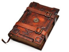 Handmade brown leather journal  Medieval style 6x8 inch by dragosh