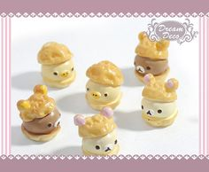 cell phone case deco kawaii sweet cake cabochon food decoden  6pcs 15mm Mix Color Creamy Bear Puff Bread Food Dessert Flatback HDC700