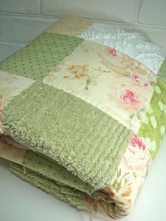 Pink And Green Cottage Chenille Crafts, Chenille Bedspread, Small Quilts, Easy Quilts, Shabby Chic Quilts, Ralph Lauren Fabric, Girls Quilts, Kid Quilts, Toddler Quilt