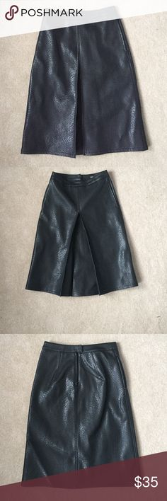 ASOS Leather Skirt sz. 2 Black pleather pleated a-line skirt from ASOS in size 2. Fits at waist then flares out to knee. Worn only once. ASOS Skirts A-Line or Full