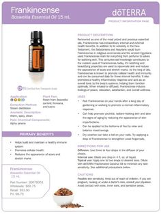 doTERRA Frankincense Essential Oil 15 ml - My Natural Family Doterra Essential Oils, Natural Essential Oils, Essential Oil Diffuser, Essential Oil Blends, Healing Oils, Aromatherapy Oils, Elixir Floral, Doterra Oils, Doterra Frankincense