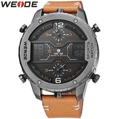 Sports Watches Man Classic Genuine Leather Strap