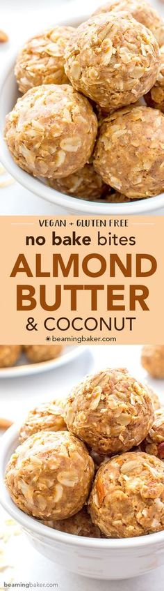 Coconut bites - No Bake Almond Butter Coconut Bites (V+GF) Nutty, lightly sweet and satisfying energy bites made from just 6 simple ingredients Vegan Gluten Free BeamingBaker com Gluten Free Desserts, Vegan Desserts, Raw Food Recipes, Snack Recipes, Cooking Recipes, Healthy Recipes, Cook Desserts, Flourless Desserts, Syrup Recipes