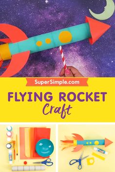 Three, two, one… Blast off! This flying rocket ship craft is simple to make, and fun to play with! Space Crafts For Kids, Craft Activities For Kids, Preschool Activities, Projects For Kids, Diy For Kids, Kids Crafts, Preschool Rocket, Space Crafts Preschool, Simple Crafts For Kids