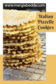 A must on any Italian cookie platter! #pizzelle #italiancookies Pizzelle Cookies, Pizzelle Recipe, Waffle Cookies, Cookie Tray, Shaped Cookie, Delicious Recipes, Vegan Recipes, Easy To Make Cookies, Mother Recipe