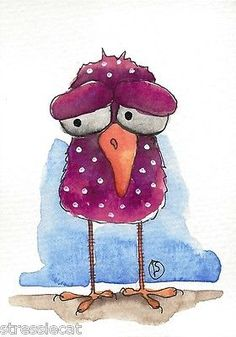 ACEO-Original-watercolor-painting-Folk-art-illustration-whimsical-bird-pink-dots