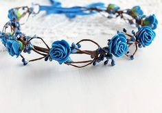 Royal Blue Bridal Crown Something Blue Halo by NoviaBellaTS