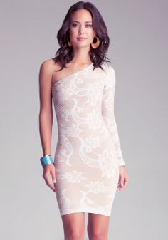 Bebe One Shoulder Lace Dress in Beige (cement) | Lyst