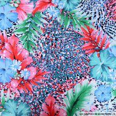 Satin à motif floral de nature souple et extrêmement douce au toucher. Le satin coton est bon pour la peau et conseillé pour les personnes hypersensibles ou allergiques au polyester par exemple. Idéal l'été pour la confection de robes, de jupes, de pantalons, de chemisiers mais aussi pour la confection de coussins déco etc. Motif: Hibiscus vert Vendu en coupon de 3 mètres