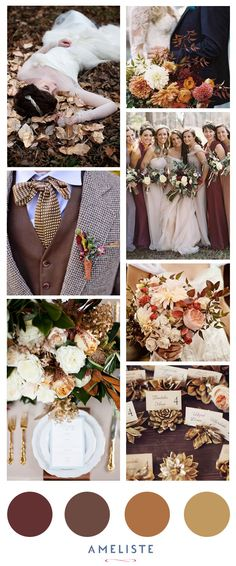 Wedding Mood Board // Wedding Inspiration BoradFall Colors // Brown, Gold, Magenta // The colors of the season #moodboard #inspirationboard