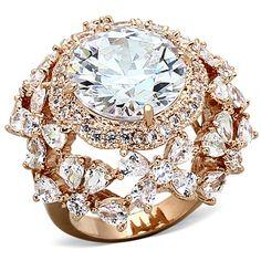 Pozlacený dámský prsten s CZ krystaly