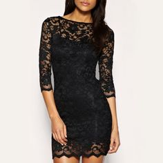 Stylish Bodycon Lady Women Lace Dress Slash Neck Cocktail Evening Dress Black