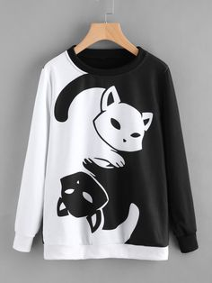 Long Sleeve Sweatshirts. Pullovers Designed with Round Neck. Regular fit. Animal design. Trend of Spring-2018, Fall-2018. Designed in Black and White. Fabric has some stretch. #CatClothes