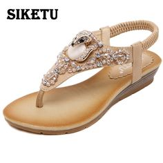 Price tracker and history of SIKETU 2017 Gladiator Sandals Summer Flip Flops  Retro Platform Shoes Woman Pearl Wedges Sandals Women's Sandals Zapatos  Mujer