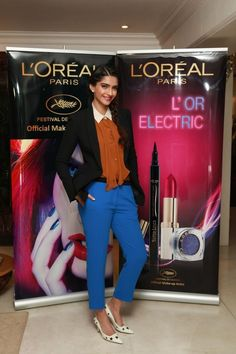 Celeb style: Sonam Kapoor in The Row blazer, Carven shirt, Sandro pants and Dolce Gabbana shoes. See more photos here: http://jugnistyle.com/style/desperately-seeking-sonam-cannes-2012-fashion-part-1/# #cannes2012 #lorealparis