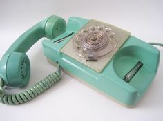 Vintage Starlight Aqua Blue Rotary Princess Phone by rhanvintage