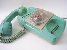 Vintage Starlight Aqua Blue Rotary Princess Phone