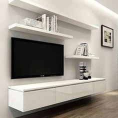 New living room decor diy on a budget floating shelves Ideas Living Room Shelves, New Living Room, Living Room Decor, Kitchen Living, Floating Entertainment Unit, Living Room Entertainment Center, Modern Tv Cabinet, Modern Tv Wall Units, White Tv Cabinet