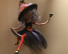 Needle felted Fairy Waldorf inspired Witch with a magic by DreamsLab3 | Etsy