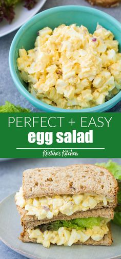 This easy egg salad recipe makes the best healthy egg salad! It starts with perf., Food And Drinks, This easy egg salad recipe makes the best healthy egg salad! It starts with perfectly hard boiled eggs and a creamy dressing. Make a classic egg salad. Healthy Egg Salad, Easy Egg Salad, Healthy Salad Recipes, Lunch Recipes, Gourmet Recipes, Cooking Recipes, Egg Salad Recipe With Relish, Egg Salad Sandwich Recipe Healthy, Avocado Egg Salad