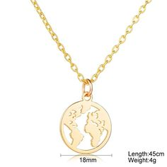 Pendant width: 18 Millimetres Description A lovely World map necklace in Gold. Comes complete with Gold colour chain. Necklace Types, Necklace Lengths, World Map Necklace, Necklace Packaging, Buy Gold And Silver, Necklace Storage, Fashion Necklace, Silver Color, Womens Fashion