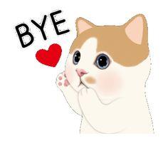 Cat Stickers, Custom Stickers, Heartbeat Line, Power Points, S Diary, Fish Man, Line Sticker, Cute Gif, Bye Bye