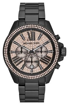 Michael Kors 'Wren' Pave Dial Chronograph Bracelet Watch, 42mm Black/ Rose Gold from Nordstrom on shop.CatalogSpree.com, your personal digital mall.