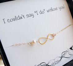 Seven 7 Gold infinity bracelets on Bridesmaid thank you cards, Bridesmaid gifts, Bridesmaid jewelry gift sets