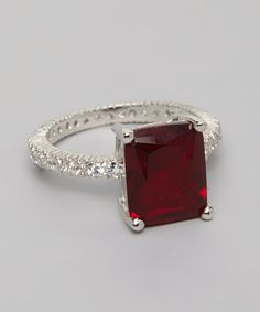 Silver Princess Cut Ruby Engagement Ring | Daily deals for moms, babies and kids