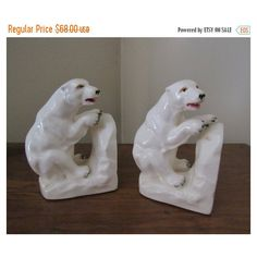 CHRISTmas in July SALE Vintage 40s 50s Porcelain Polar Bear Accents... ($41) ❤ liked on Polyvore featuring home, home decor and bear home decor