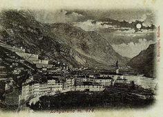 Panorama notturno di Longarone (cartolina di Pompeo Breveglieri, del 1900)