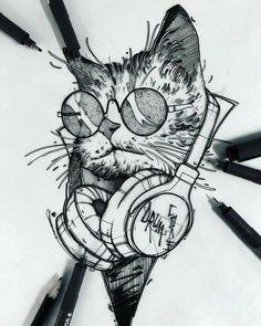 Cat tattoo - Famous Last Words Pencil Art Drawings, Animal Drawings, Tattoo Drawings, Drawing Sketches, Art Du Croquis, Kunst Tattoos, Desenho Tattoo, Nature Tattoos, Cat Tattoo