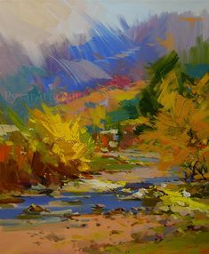 Autumn Abstract Landscape Print  of the original oil landscape painting by Yuri Pysar